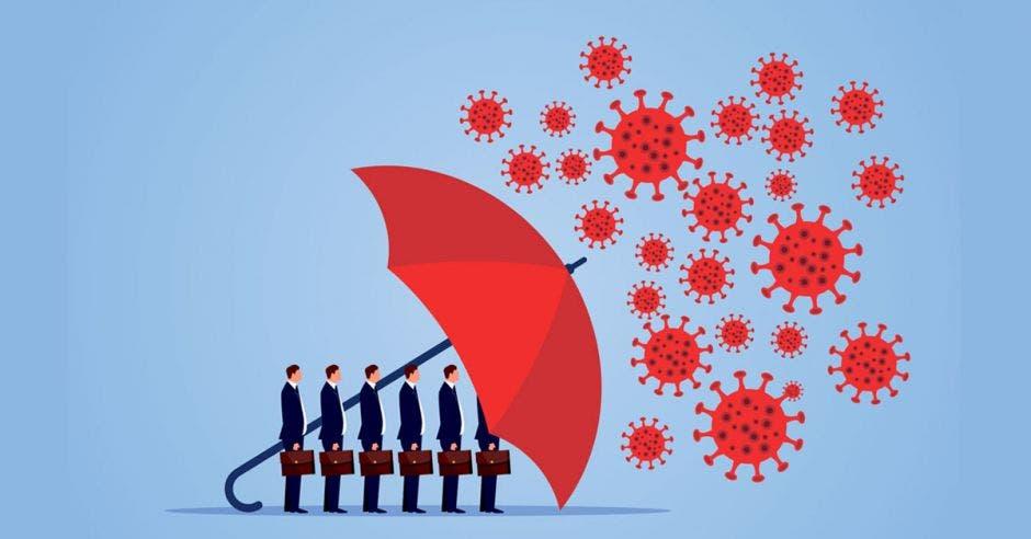 Un grupo de ejecutivos se cubre con una sombrilla del virus covid-19