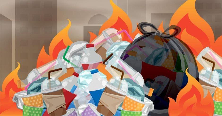 Una pila de basura quemándose