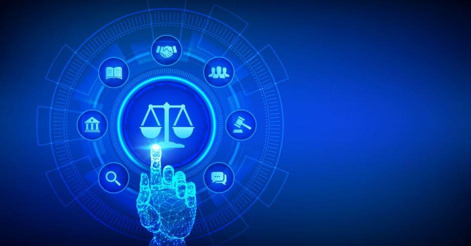 Mano y dedo azul tocando tecnología