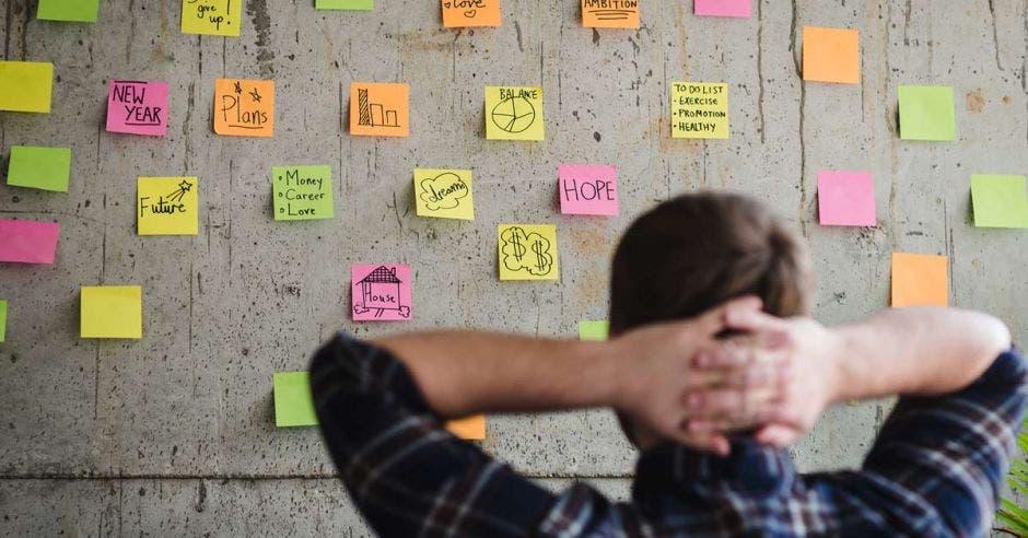 Vemos a un emprendedor viendo su pared de objetivos