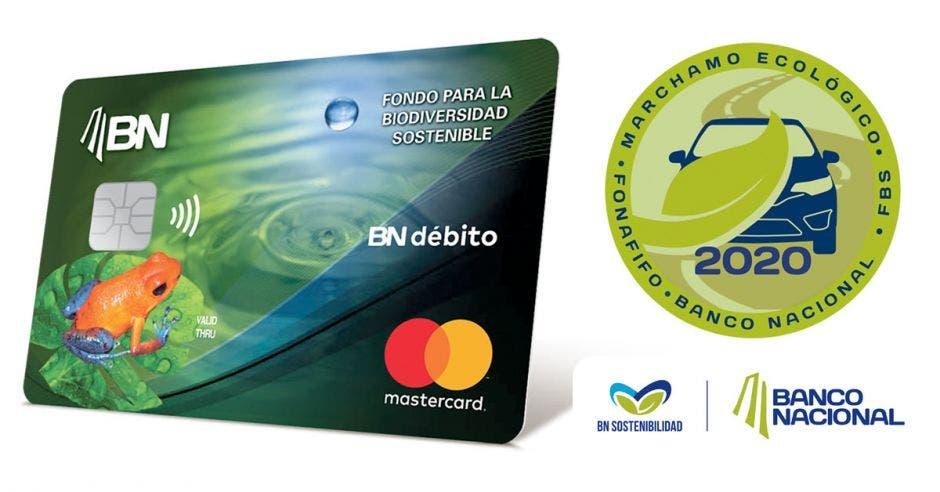 Tarjeta de crédito y logo de marchamo