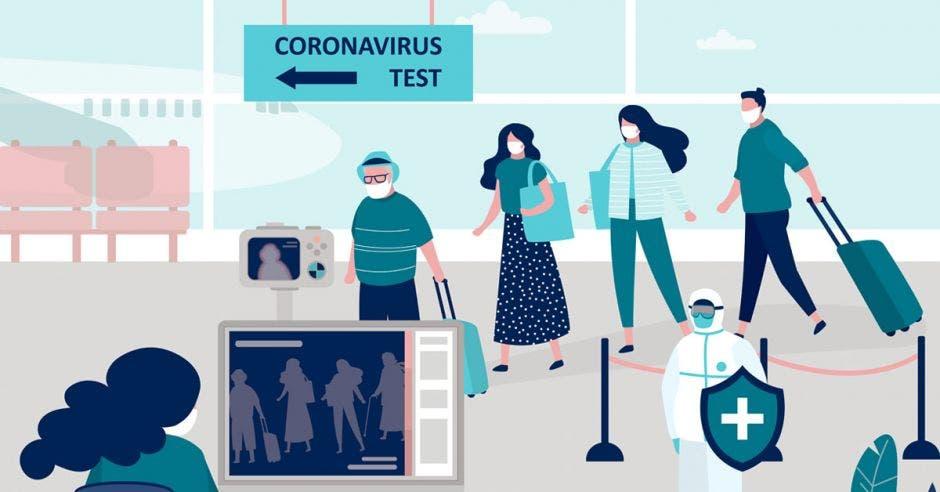 Una fila de personas esperando una prueba Covid en un aeropuerto
