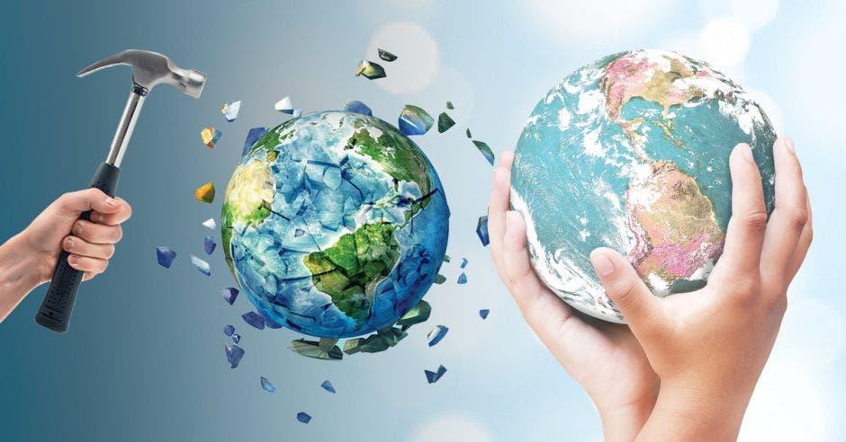 Una mano destruye un planeta mientras otra lo protege