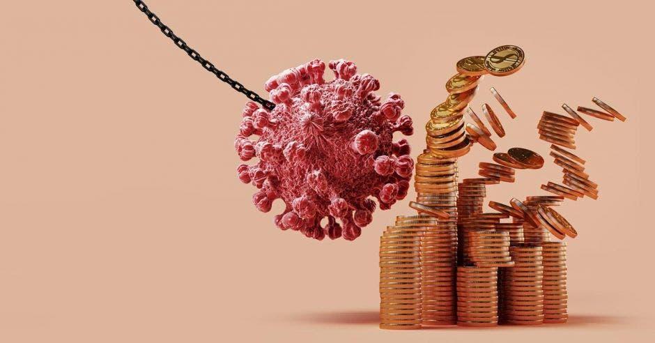 Bola de construcción en forma de Covid tira abajo monedas