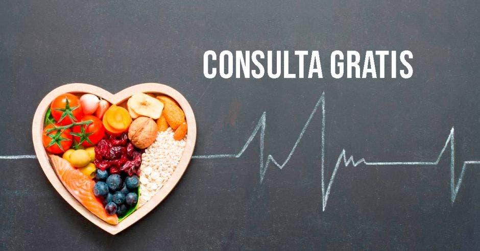 Un corazón con una imagen de comida y la palabra consultas gratis