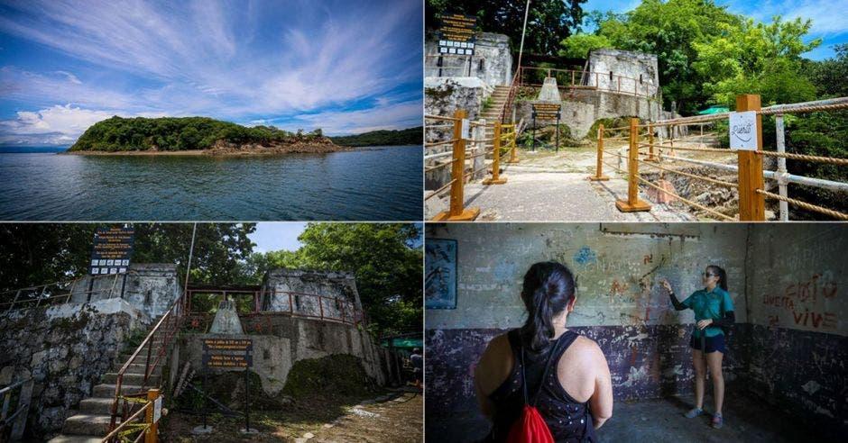 una serie de imágenes de la isla san lucas y sus alrededores