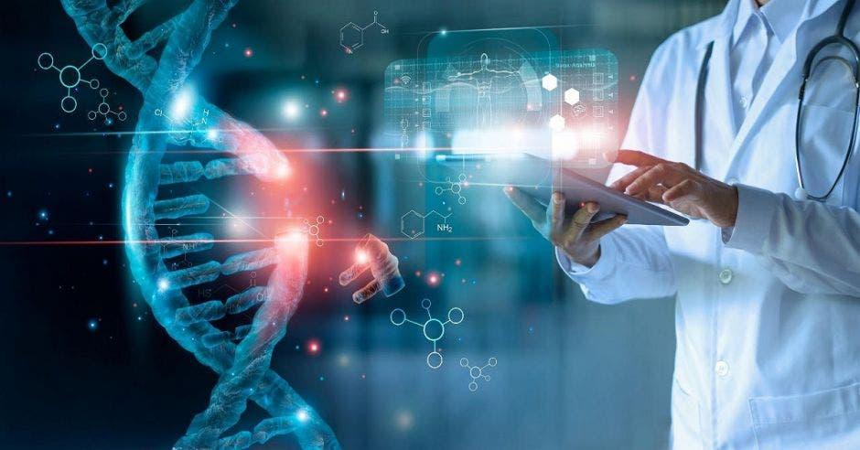 Una imagen de genética y un doctor