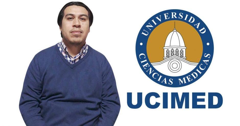 Adrián Avendaño, microbiólogo y el logo de UCIMED.