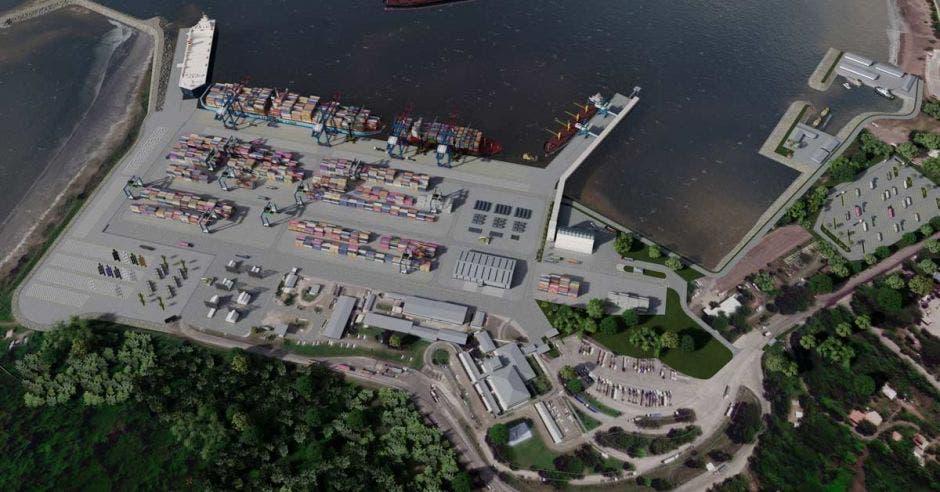 Render de como quedará el puerto tras la ampliación.
