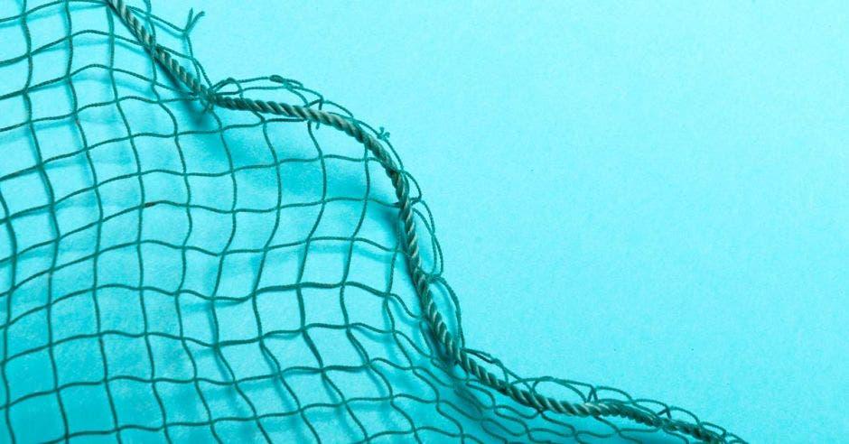 una red de pesca sobre un fondo celeste
