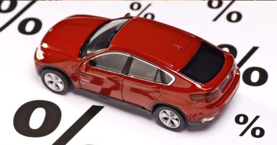 Un carro rojo colocado sobre un fondo de porcentajes en color negro