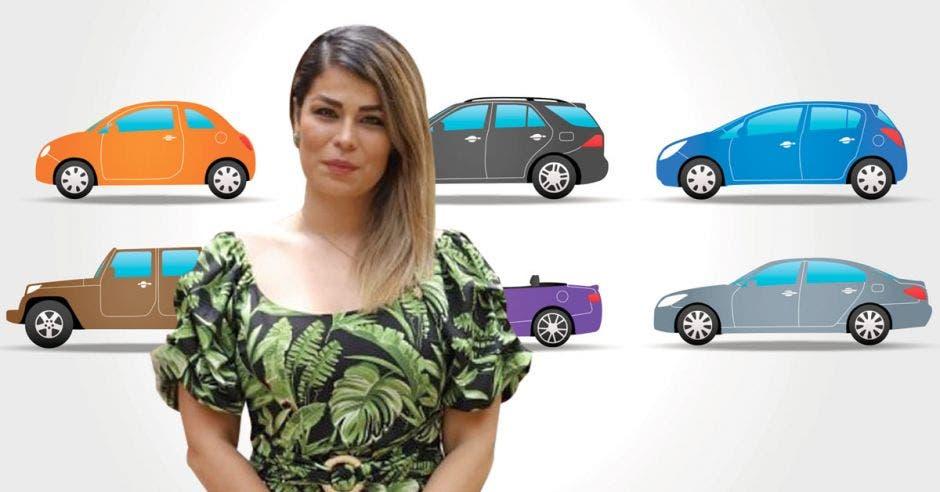Mujer frente a múltiples autos