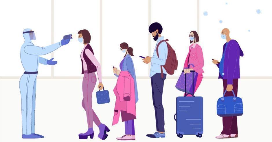 Un dibujo de personas con maletas y una tomando temperatura