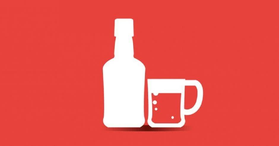 Un dibujo de una botella de alcohol