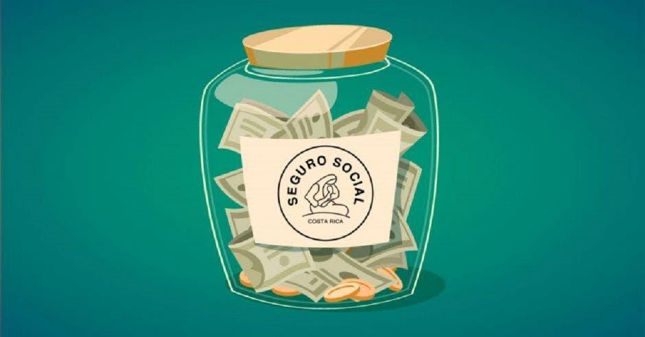 un dibujo de un frasco lleno de dinero y un logo de la Caja