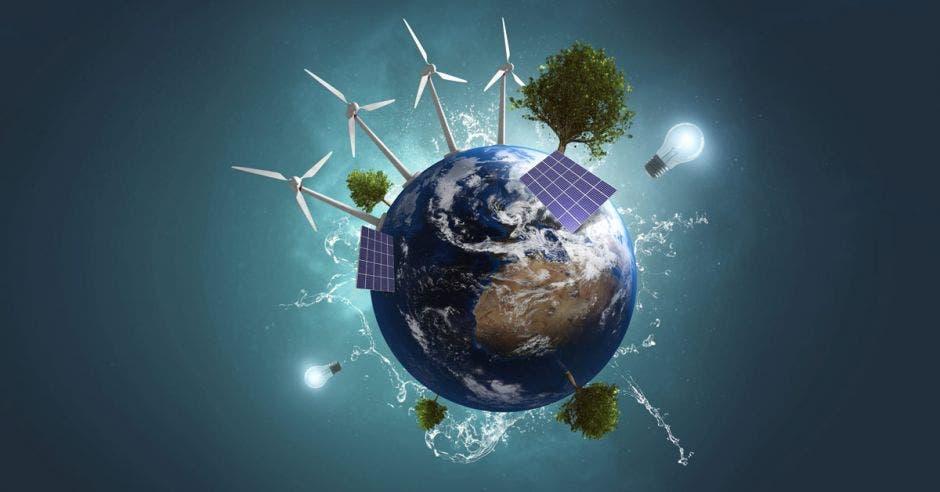 Un planeta con molinos de viento, árboles, paneles solares y bombillas