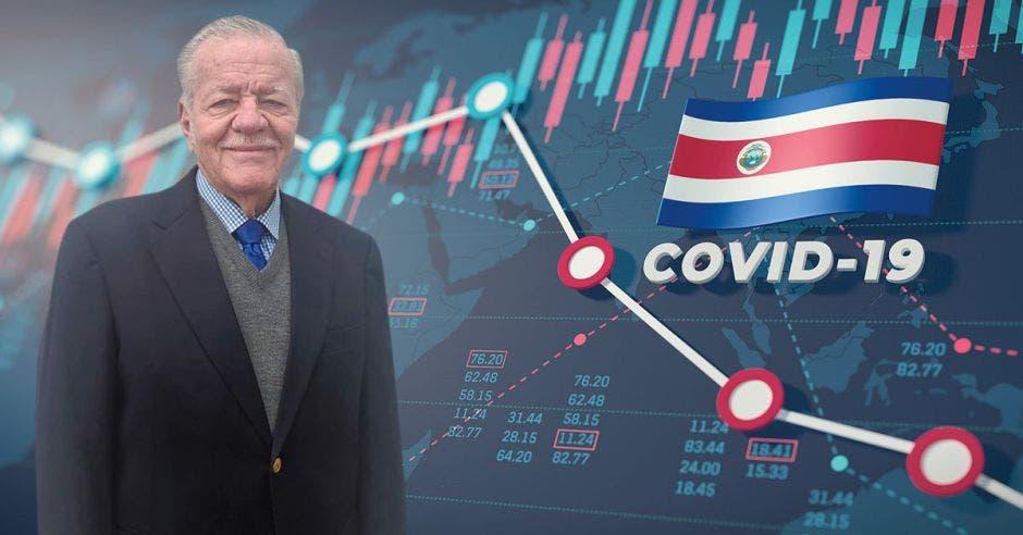 Ronald Evans y un gráfico y una bandera de Costa Rica