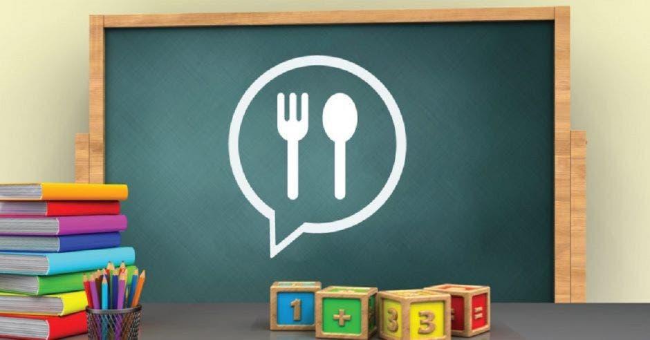 Un dibujo de una sala de clases y en la pizarra un dibujo de una cuchara y un tenedor