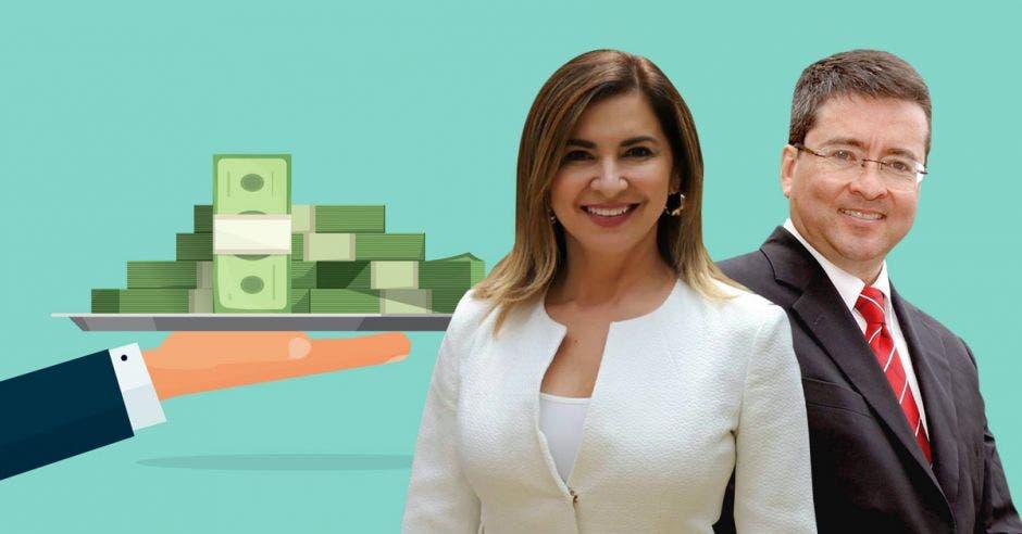 Hombre y mujer con billetes
