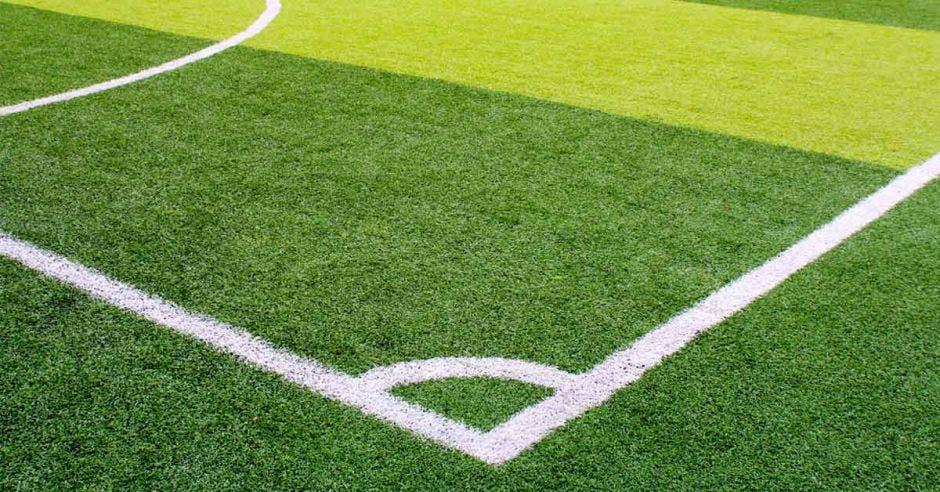un campo deportivo de césped sintético verde con línea blanca tomada desde arriba