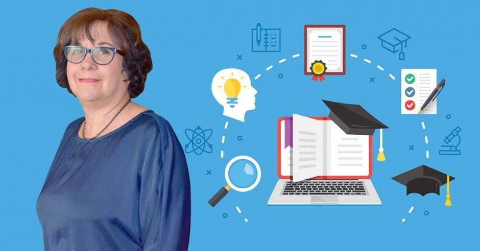Guiselle Cruz, ministra de Educación y un dibujo de una computadora