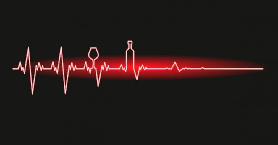 una imagen de un electrocardiograma y unas formas de copas y botellas de alcohol