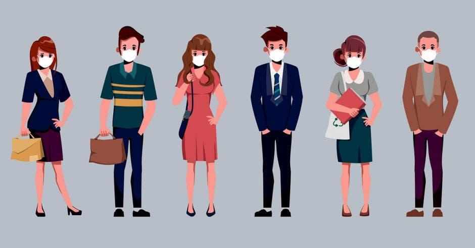 Un dibujo de personas usando la mascarilla