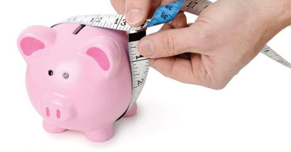 Alcancía de cerdo y persona con cinta métrica