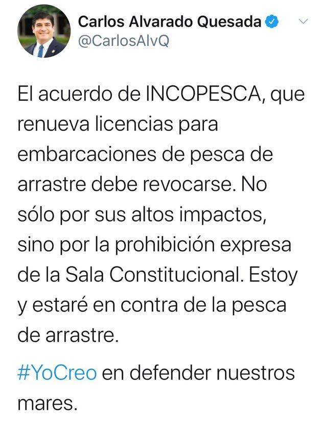 Un tuit de Carlos Alvarado