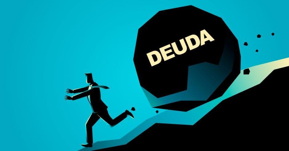 Piedra gigante llamada deuda sigue colina abajo a persona.
