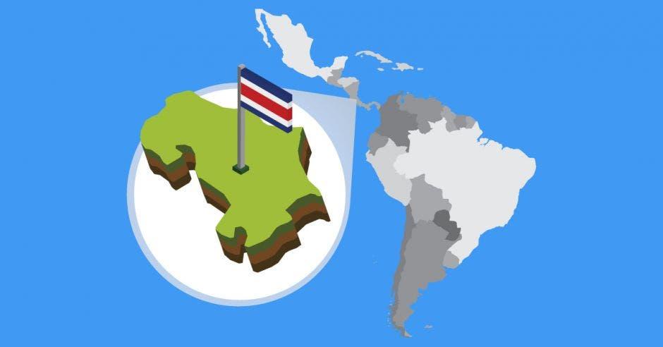 Un mapa de costa rica con una bandera encima