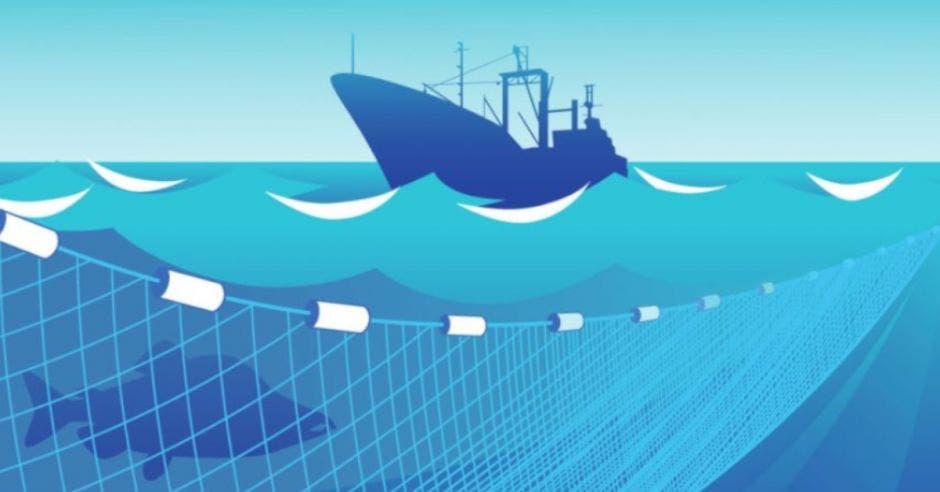 Barco en dibujo tirando una red