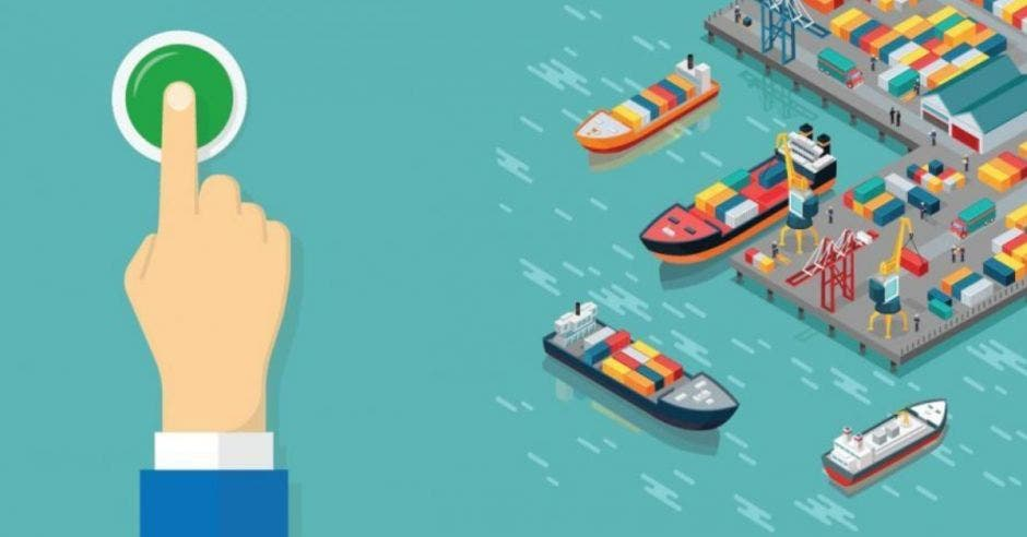 Dedo dibujo en puerto