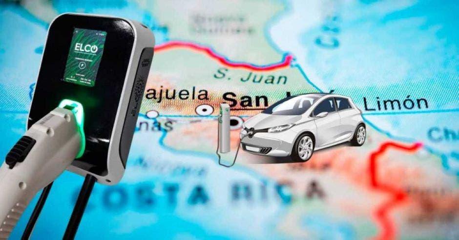 centros de carga y mapa de Costa Rica