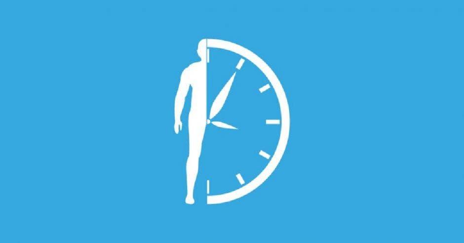 Un dibujo de la mitad de una persona con la mitad de un reloj