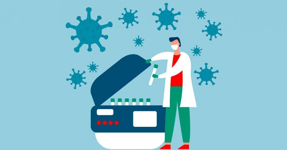 Un dibujo de una máquina procesando pruebas PCR para detectar Covid-19 y un funcionario