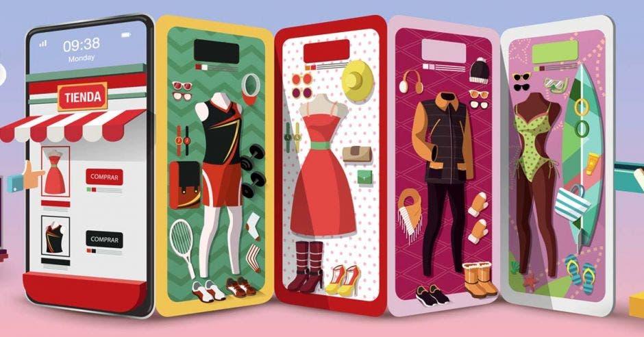 dibujos de celulares con diferentes atuendos en las pantallas