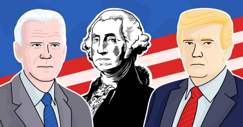 Dibujos de Trump, Biden y George Washington