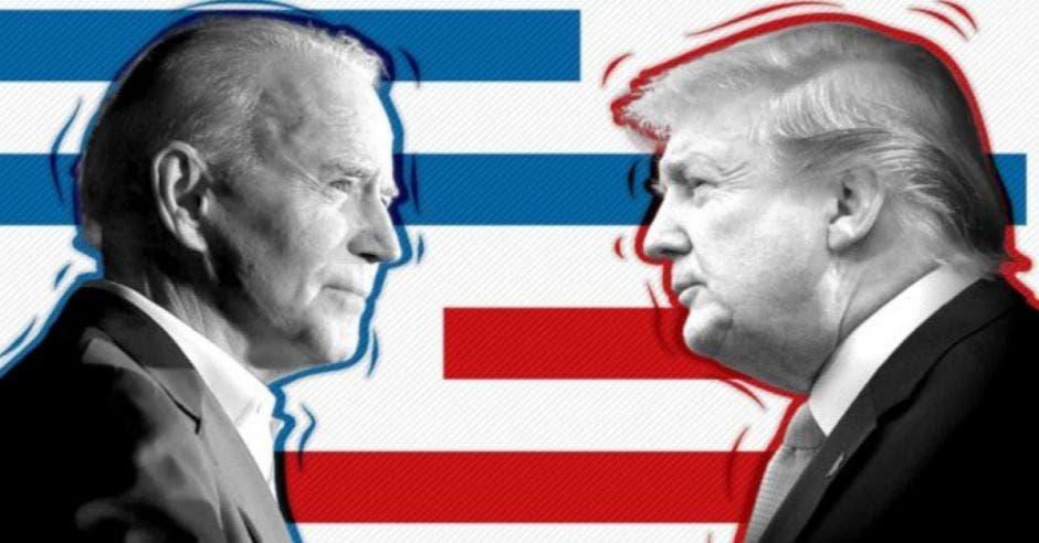 Dibujo de Donald Trump y Joe Biden