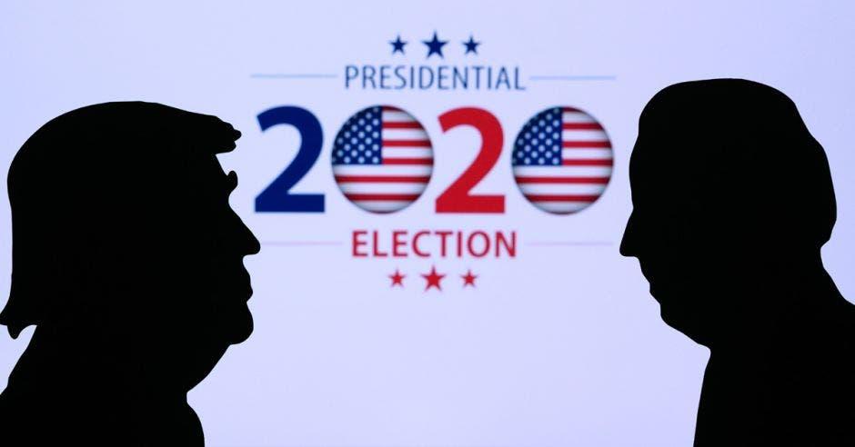 Silueta de Trump y Biden