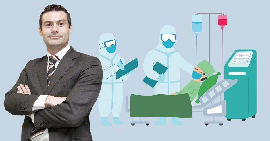 Massimo Manzi y un dibujo de una persona en una cama UCI