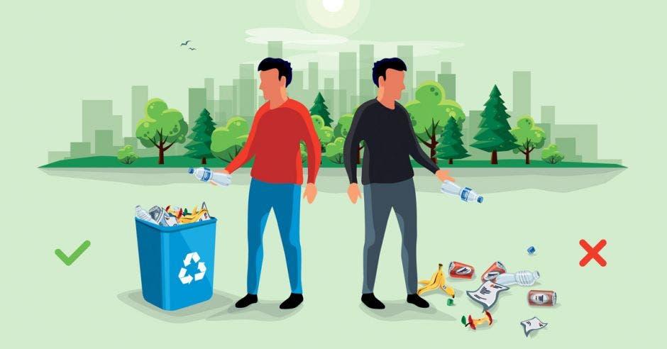 una persona bota basura en la calzada y otra en un recipiente para reciclaje