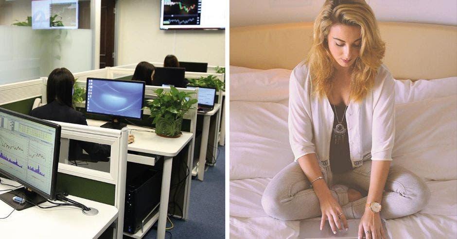 al lado izquierdo, una serie de computadoras en una oficina, y al lado derecho, una mujer escribiendo en su laptop
