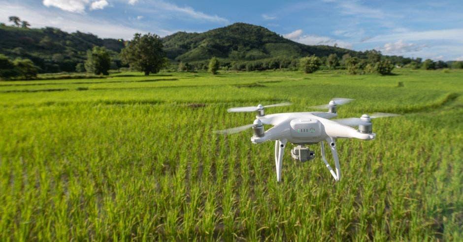 Un dron en una zona de pasto y al fondo un volcán