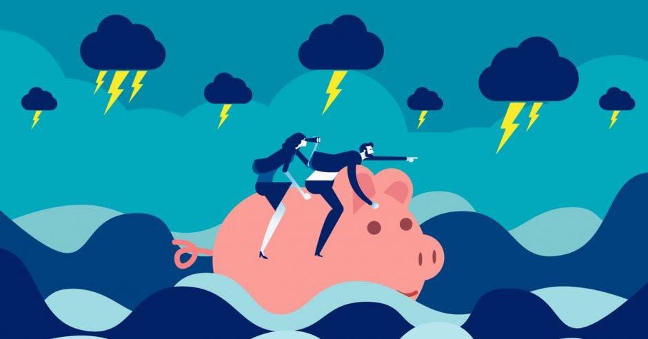 Hombre y mujer en dibujo sobre alcancía de cerdo en aguas turbulentas y nubes con rayos