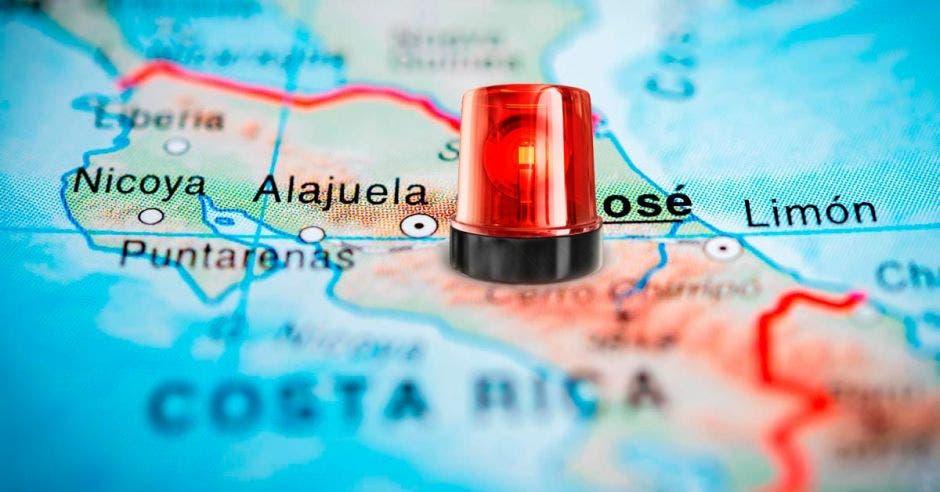 Sirena de alerta en mapa de Costa Rica