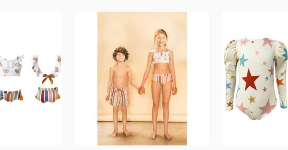 Niños con vestidos de baño