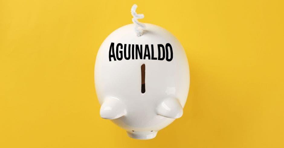 Aguinaldo escrito en alcancía