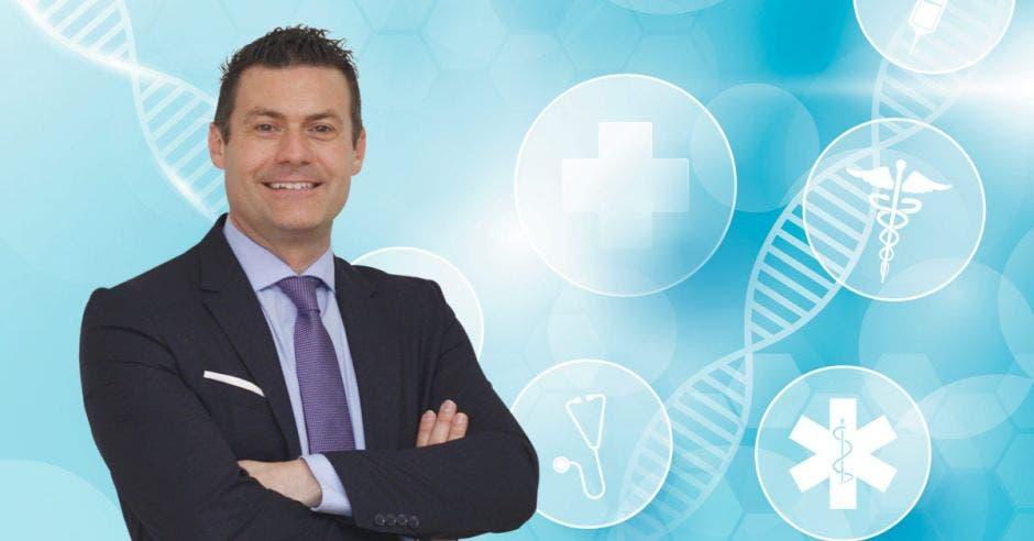 Massimo Manzi y unas imágnes de íconos de salud