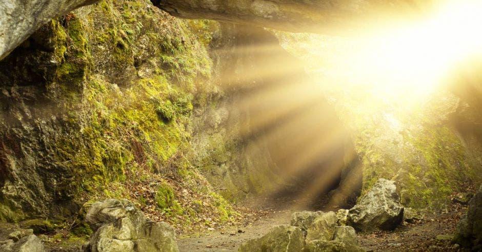 Rayos de luz iluminan la entrada de una cueva